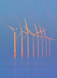 Burbo Bank Offshore Wind Farm, at the entrance to the River Mersey in North West England.