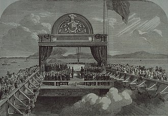 Royal tours of Canada by the Canadian Royal Family - The Prince of Wales dedicating Victoria Bridge in Montreal, as a part of his tour of Newfoundland, Prince Edward Island, Nova Scotia, and the Province of Canada in 1860.
