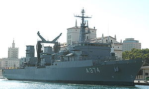 Etna-class replenishment oiler - Prometheus (A-374) at Malaga, 2005