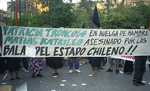 Mapuche conflict - Demonstration in Santiago, after the killing of two Mapuche activists.