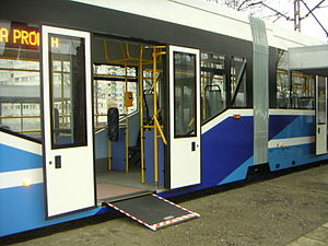 Low-floor tram - Wheelchair access ramp in Protram 205 WrAs tram. Low floor is approximately 360 mm high
