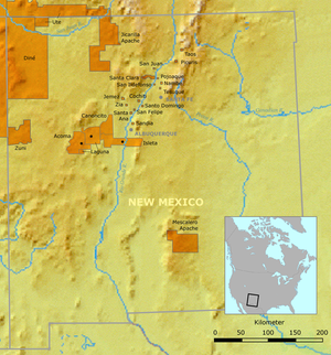 Eight Northern Pueblos - Location of Eight Northern Pueblos and neighboring pueblos in New Mexico