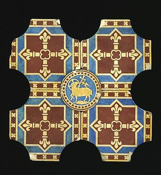 Mintons - Group of 5 Pugin tiles for the new St George's Cathedral, Southwark, 1847-48, with German bomb damage.