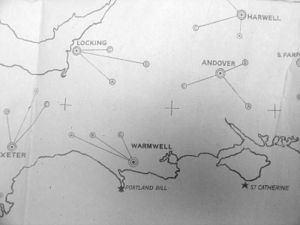Pundit Beacon - Map of airfields, showing associated light positions