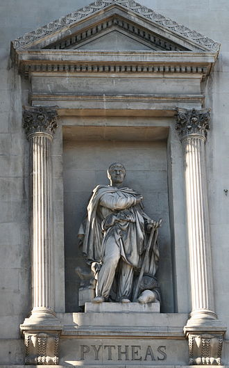 Pytheas - Statue of Pytheas outside the Palais de la Bourse, Marseilles.