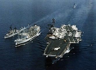 RFA Olna (A123) - RFA Olna (A123) refueling USS Forrestal (CV-59) and destroyer 1978