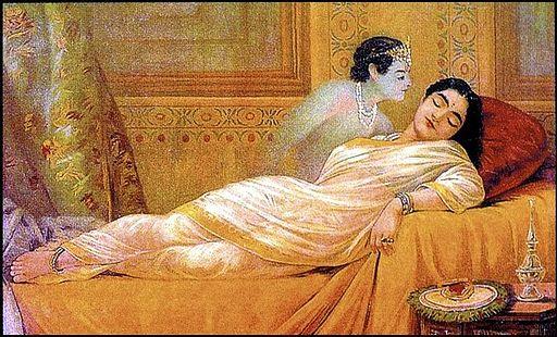 Raja Ravi Varma, Usha's Dream (oleographic print)