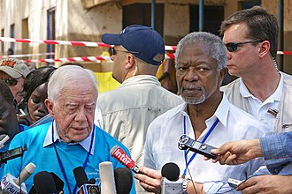 At the South Sudanese independence referendum, 2011, with former US president Jimmy Carter Ranjit Bhaskar Juba, jan 9, 2011042 - Flickr - Al Jazeera English.jpg