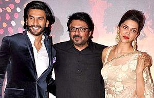 Sanjay Leela Bhansali - Image: Ranveer Singh, Sanjay Leela Bhansali and Deepika Padukone at RAM LEELA's trailer launch