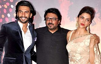 Sanjay Leela Bhansali - Bhansali with Ranveer Singh and Deepika Padukone during the trailer launch of Ram-Leela in 2013