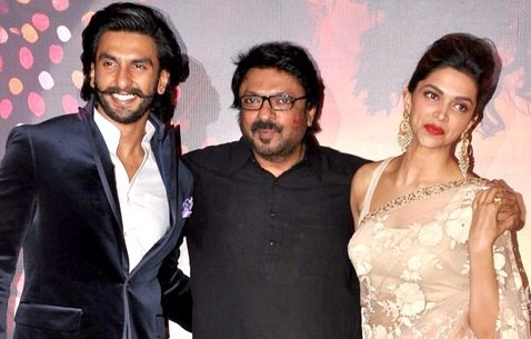 Ranveer Singh, Sanjay Leela Bhansali and Deepika Padukone at RAM LEELA%27s trailer launch