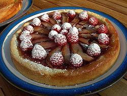 A vegan raspberry pear tart.