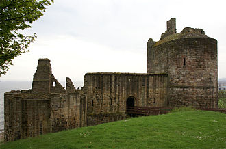 Ravenscraig Castle - Ravenscraig Castle, showing the large D-plan west tower, and the ruined east tower