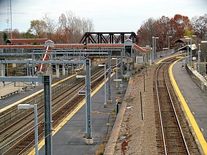 Readville station from Milton Street bridge, November 2015.JPG