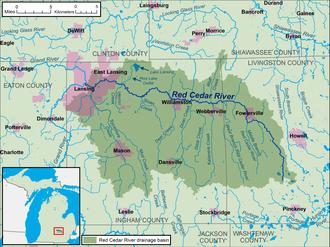 Red Cedar River (Michigan) - Image: Red Cedar River Michigan map