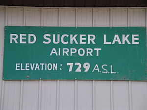 Red Sucker Lake Airport - Old elevation sign