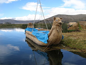 Lake Titicaca - A reed boat on Lake Titicaca
