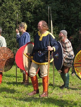 Anglo-Saxon weaponry - A re-enactor in Austria dressed and armed in a manner likely similar to Anglo-Saxon soldiers, with shield and angon
