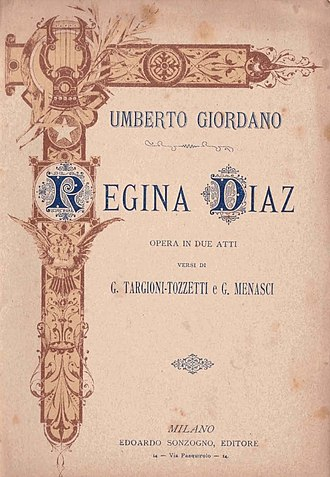 Regina Diaz - Original libretto cover