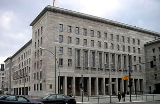 Federal Ministry of Finance (Germany) - The Detlev-Rohwedder-Haus on Wilhelmstraße, headquarters of the Federal Ministry of Finance since August 1999. Formerly the Air Ministry headquarters building and an example of Nazi architecture.