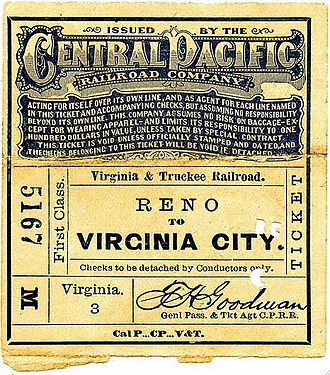 Virginia and Truckee Railroad - CPRR issued ticket for passage from Reno to Virginia City, 1878