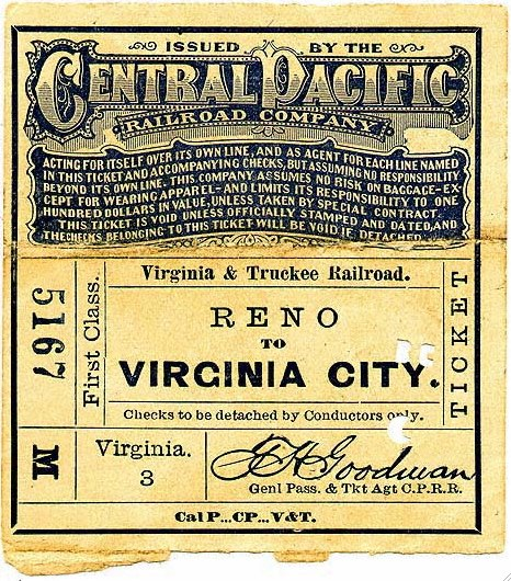 Reno to Virginia City NV CPRR-V&TRR Ticket 1878