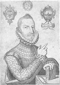 Mateo Aleman, an early modern novelist who recorded the terrible 'plague that came down from Castile and the famine that rose from Andalusia' to cripple Philip III's domestic economy. Engraving by Pedro Perete Retrato de Mateo Aleman.jpg