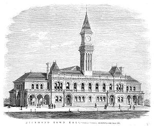 Richmond Town Hall - Lithograph of the 1870 design