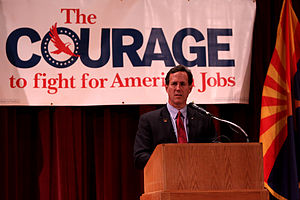 Rick Santorum presidential campaign, 2012 - Santorum speaking at a rally in Phoenix, Arizona.