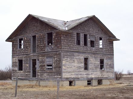 Robsart Hospital, one of many abandoned buildings in Robsart, Saskatchewan