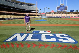 Rocking purple, Billy Bean supports -SpiritDay at Dodger Stadium. (30337931592).jpg