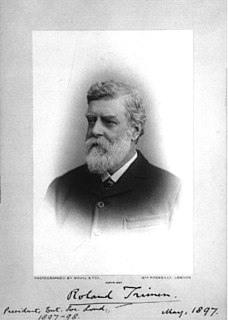Roland Trimen (1840 - 1916) was a British-South African naturalist, best known for South African Butterflies