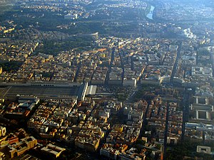 Transport in Rome - Aerial view of Roma Termini railway station