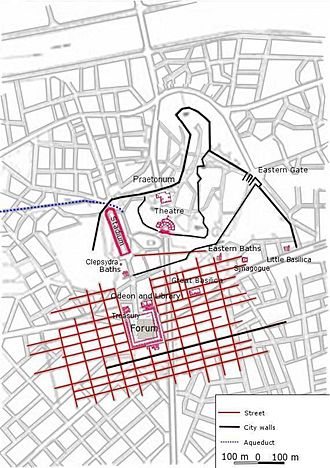 Plovdiv - Plan of the known parts of the Roman city superimposed on a plan of modern Plovdiv.