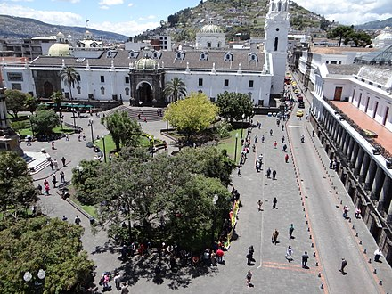 The historic center of Quito has one of the largest and best-preserved historic centers in the Americas. The city also houses a large number of museums. Roof deck (Palacio de Pizarro), Plaza de la Independencia (Quito), pic.aa4.jpg