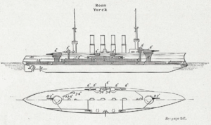 SMS Roon - Plan and elevation of the Roon class