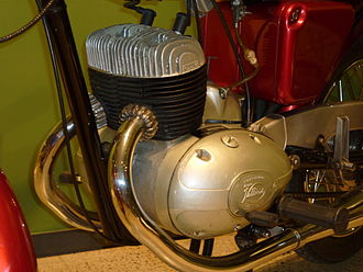Straight-twin engine - A Hispano Villiers two-stroke straight-twin engine in a Rovena motorcycle