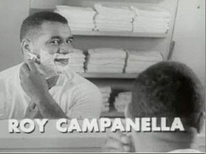 Roy Campanella - Campanella seen shaving in a TV commercial for Gillette Razors.