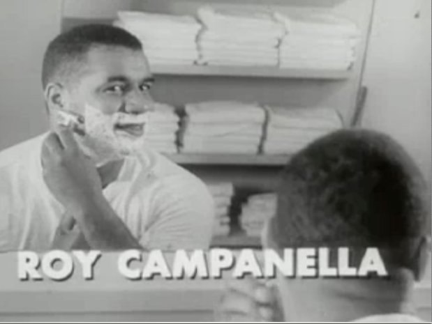 Roy Campanella shaving