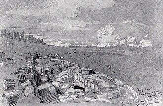 Christian Wilberg - Pencil drawing: Ausgrabungen an der byzantinischen Mauer
