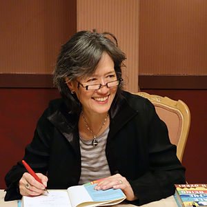 Ruth Ozeki signing books at Hotel la Rose in Santa Rosa, March 21, 2013.