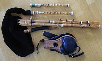 Swedish bagpipes - One of Alban Faust's modernised sets of Swedish bagpipes. Chanters in A and G, three drones, and bellows.