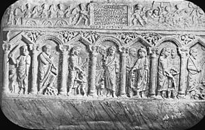 Early Christian sarcophagi - Lateran Museum, Rome, Italy. Rome - Early Christian sarcophagus, Lateran Museum, story of Isaac; Moses on Mount Sinai; healing blind; Peter denys Lord; healing sick; turning water into wine. Brooklyn Museum Archives, Goodyear Archival Collection