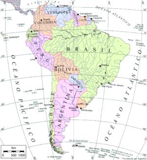 Mapa político de América del Sur