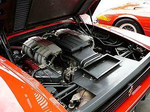 Ferrari Testarossa - A Testarossa engine with red cam covers.