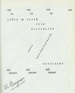 """Til Brugman - Til Brugman's English and French language poem """"SHE HE"""""""