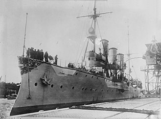 Königsberg-class cruiser (1905) - Königsberg moored in harbor before the war