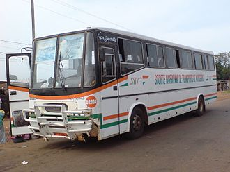 Sociéte Nigerienne de Transports de Voyageurs - SNTV coach running between Ouagadougou, Burkina Faso and Niamey, Niger.