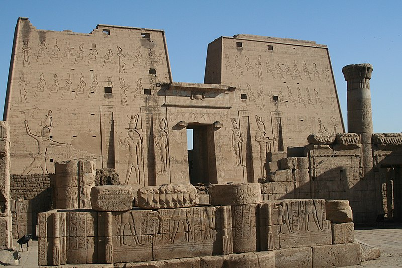 The well preserved Temple of Horus at Edfu is an example of Egyptian architecture and architectural sculpture. S F-E-CAMERON EGYPT 2006 FEB 00289.JPG