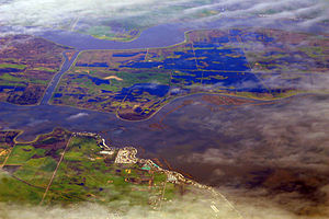 Bethel Island, California - California Delta at flood stage, 2009. Bethel Island is at bottom left of image.